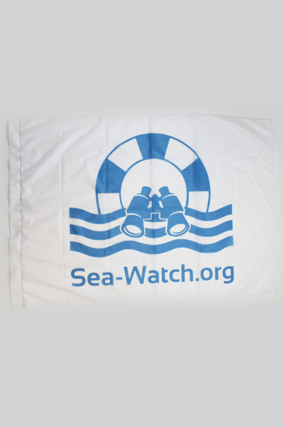 Flagge Sea Watch Logo 30x50cm White